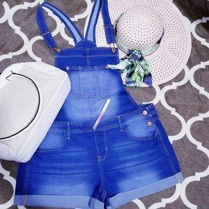 Pants - Double shoulder strap denim jumpsuit size L NWOT